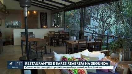 Bares e restaurantes se preparam para a reabertura na segunda-feira (06)