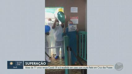 Idosa vence Covid-19 e é recebida em casa com muita festa em Sertãozinho, SP