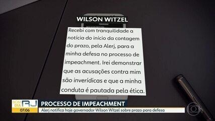 Wilson Witzel recebe notificação sobre prazo de defesa no processo de impeachment