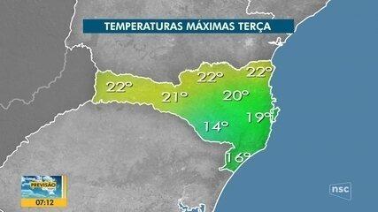 Veja a previsão do tempo para SC esta terça-feira