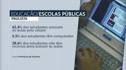 Pesquisa aponta dificuldade para estudantes de Paulista acompanharem aulas pela internet
