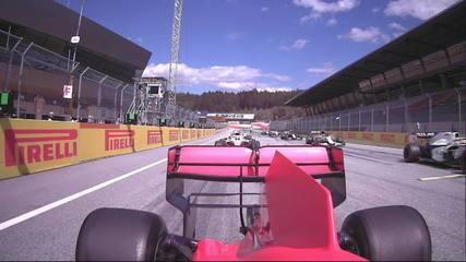 Imagem da câmera onboard de Vettel em incidente com Leclerc no GP da Estíria