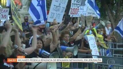 Milhares de pessoas protestam em Jerusalém contra primeiro-ministro Benjamin Netanyahu