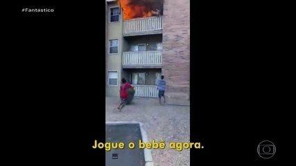 'Eu não pensei em nada, só reagi', diz americano que salvou bebê jogado de prédio em chama