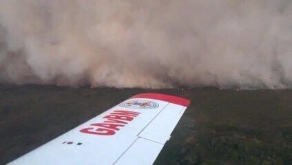Bombeiros combatem incêndio que já atingiu 26 mil hectares no pantanal em MT
