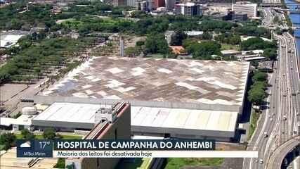 Leitos desativados no Hospital de Campanha do Anhembi