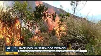 Bombeiros tentam controlar incêndio no Parque Nacional da Serra dos Órgãos
