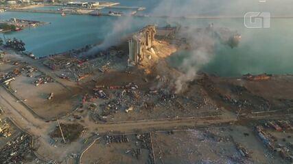 Imagens de drone mostram cratera causada pela explosão no porto de Beirute