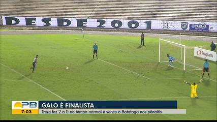 Assista aos lances da vitória e classificação do Treze sobre o Botafogo-PB