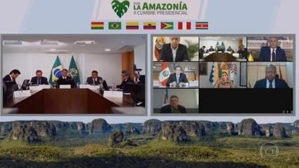 Bolsonaro participa de reunião com representantes de sete países que integram a Amazônia