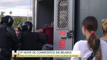 Mais de mil manifestantes foram presos na 3ª noite de protestos em Belarus