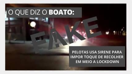 É #FAKE que vídeo mostre Pelotas usando sirene para impor toque de recolher no lockdown