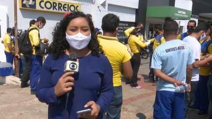 Trabalhadores dos Correios voltam a protestar no Acre