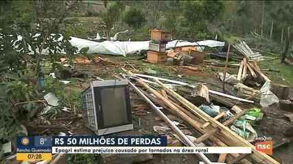 Epagri estima prejuízo de R$ 50 milhões causado por tornados