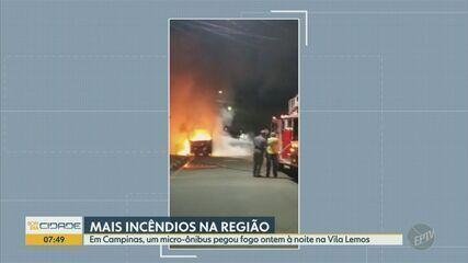 Incêndios atingem micro-ônibus em Campinas e marcenaria em Hortolândia
