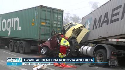 Duas pessoas morrem e três ficam feridas em grave acidente na Via Anchieta