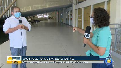 Mutirão para emissão de RG será feito no Espaço Cultural, em João Pessoa