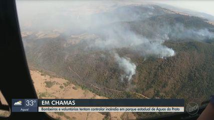 Bombeiros e voluntários tentam controlar incêndio em parque estadual de Águas da Prata