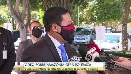 Mourão e Salles postam vídeo negando queimadas na Amazônia