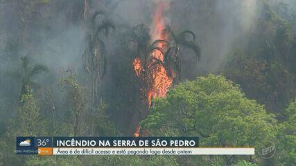Mata de serra em São Pedro é atingido por incêndio desde sexta-feira (11)