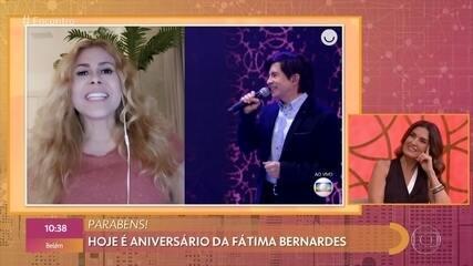 Fãs famosos dublam Fátima Bernardes em homenagem ao aniversário da apresentadora