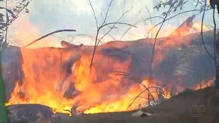 Bombeiros trabalham para combater incêndios em Bauru