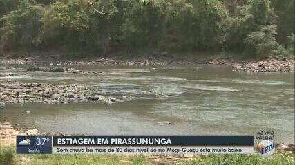 Sem chuva há mais de 80 dias, nível do Rio Mogi Guaçu está muito baixo