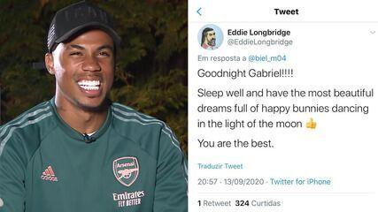 Zagueiro do Arsenal, Gabriel Magalhães lê comentários dos torcedores do clube