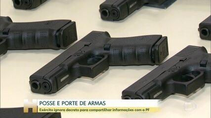 Exército ignora decreto para compartilhar informações sobre registro de armas com a PF