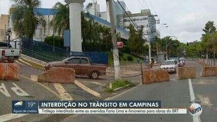 Obras do BRT interditam trânsito perto do Hospital Mário Gatti, em Campinas