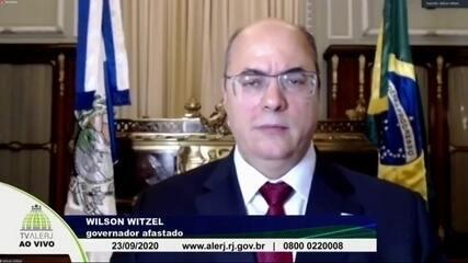 Na quarta-feira, Wilson Witzel, governador afastado do RJ, apresentou à Alerj defesa por videoconferência