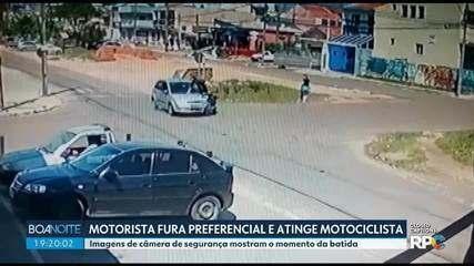 Motorista fura a preferencial e atinge motociclista em Curitiba