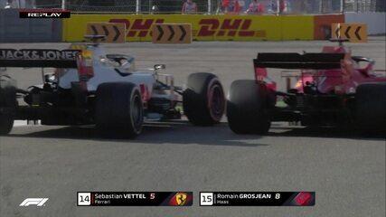 Vettel e Grosjean se tocam na briga pela 14ª colocação no GP da Rússia