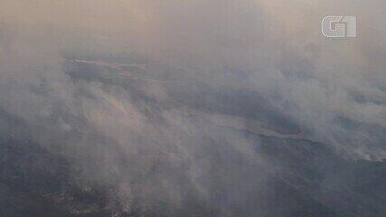Imagens aéreas feitas por biólogo Hugo Fernandes mostram incêndios no Pantanal