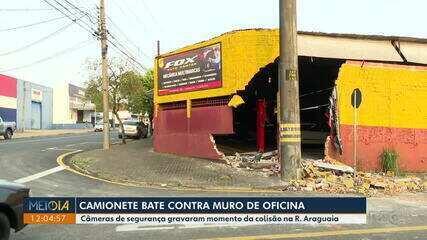 Veículo bate contra muro de oficina, em Londrina