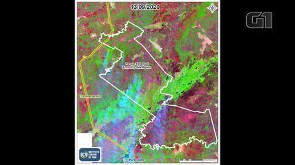 Imagens de lapso de tempo mostram o progresso das queimadas no Pantanal