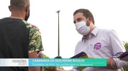 Guilherme Boulos faz panfletagem na zona sul