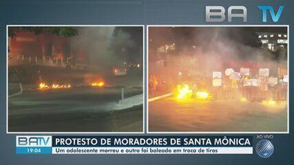 Moradores fazem protesto em Santa Mônica após tiroteio entre PM e bandidos na região