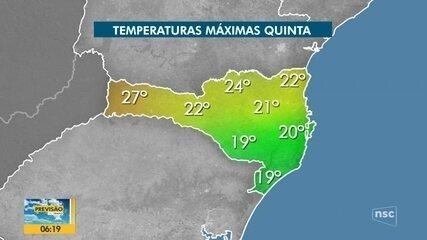 Confira a previsão do tempo em SC para a quinta-feira