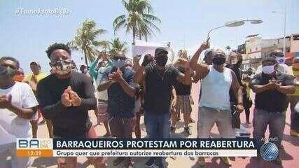 Barraqueiros protestam em Itapuã e pedem para voltar a trabalhar nas praias de Salvador