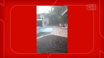 Chuva de granizo atinge município de Aurora, no Vale do Itajaí