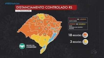 RS tem três regiões com bandeira amarela no mapa de distanciamento controlado