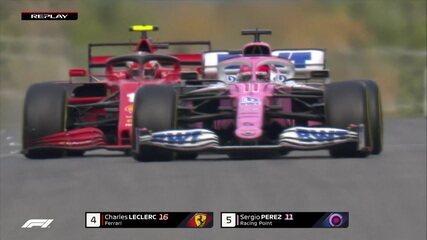 Sergio Pérez passa Leclerc, mas francês dá o troco e recupera a posição