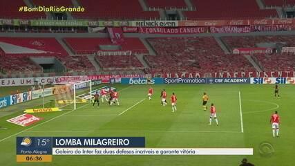 """Lomba vibra com """"defesa da vida"""" que garantiu vitória do Inter: """"Nunca mais vou esquecer"""""""