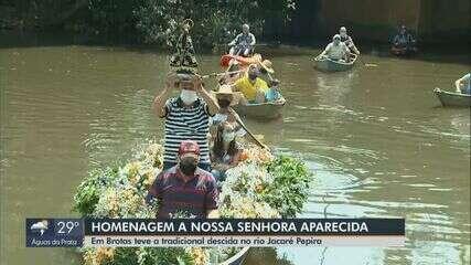 Tradicional descida no Rio Jacaré Pepira homenageia Nossa Senhora Aparecida em Brotas
