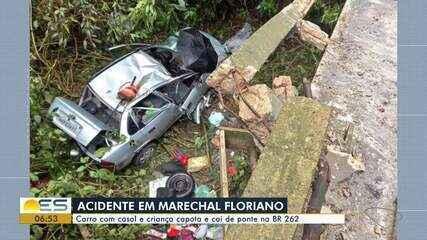 Criança e casal são socorridos após carro cair de ponte em Marechal Floriano