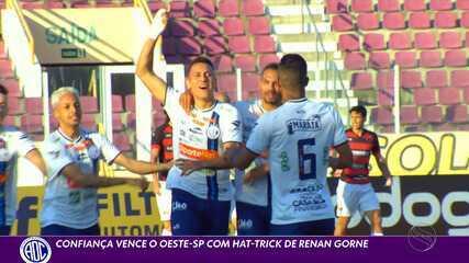 Com hat-trick de Renan Gorne, Confiança vence o Oeste-SP na Arena Batistão