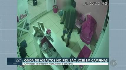 Câmeras registram três roubos no bairro São José, em Campinas, cometidos na mesma semana