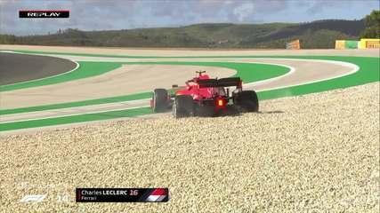 Leclerc também sai da pista em treino do GP de Portugal