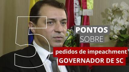 Governador de Santa Catarina é alvo de dois processos de impeachment: entenda em 5 pontos